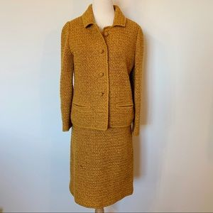 VINTAGE 60's Gorgeous hand crocheted mustard suit